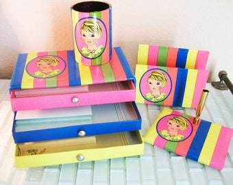 Mod Girls Desk Set with Stationary Set Boxed - pencil holder pen holder paper file envelope holder JAPAN