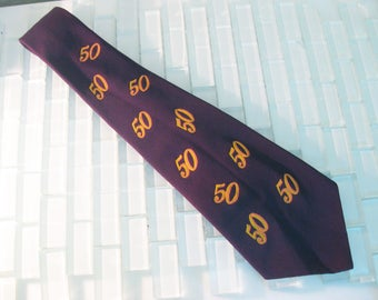 1940s Novelty Tie Blue 50th Birthday Screen printed 50 Rayon Penny's Towncraft