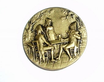 Large Size Embossed Brass French FOP Picture Button