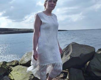 Stunning  white/cream nuno felted dress with the finest merino and mulberry silk -  Beach Wedding