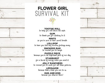 Flower Girl Survival Kit 5x7- Instant Download