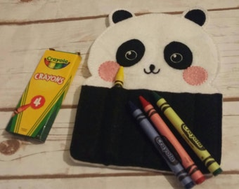 Panda Crayon Holder, Handmade, Crayon Carrier, Crayola, Coloring Holder, Christmas Gift, Stocking Stuffer