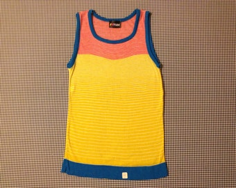 1980's, thin, semi-sheer knit, long and lean, tank/sweater vest, in yellow, red and white stripes, with blue trim.  Women's size Large