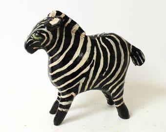 Paper Mache Clay Zebra Sculpture - Zane