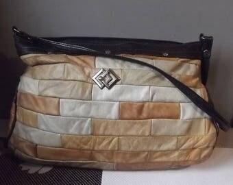 Vintage Leather Handbag. Patchwork Leather Bag. Shoulder bag. Natural leather bag. Black handle. European Vintage 1970s.