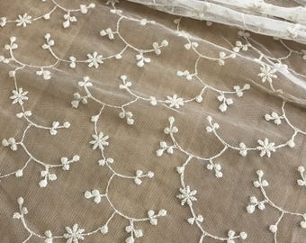 Ivory Vintage Style Lace Fabric Embroidery Floral Wedding Fabric Bridal Dress Lace Fabric By The Yard