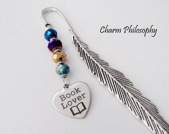 Book Lover Bookmark - Beaded Tibetan Silver Bookmark - Teacher Gifts - Librarian Gifts