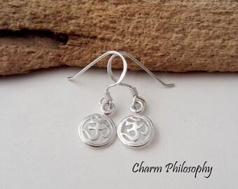Small Om Earrings - 925 Sterling Silver Jewelry - Om Charms - Shepherd Hooks