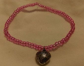 Pink Glass Bead with Heart Charm Stretch Bracelet