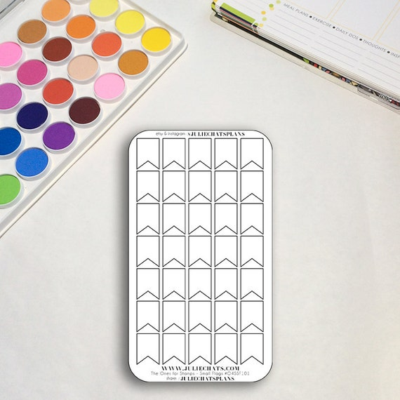 Blank Planner Sticker Sheet, The Ones for Stamps Small Flags, Banners, Erin Condren, Happy Planner, Traveler's Notebook, Get to Work Book