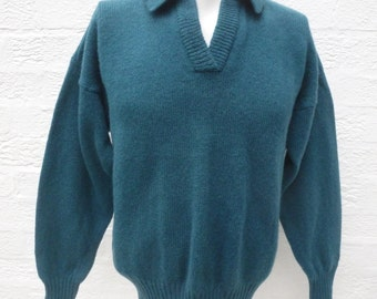 Jumper shetland wool sweater teal clothing 90s mens top womens jumper ladies sweater fall winter gift vintage fashion top clothes wool urban