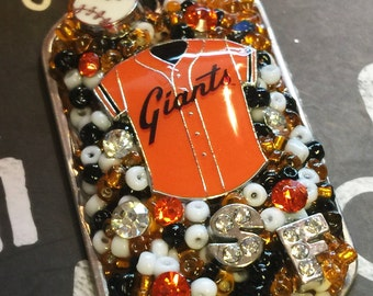 SF Giants Inspired Jersey Bling Embellished Necklace - Baseball Jewelry - SF Giants Jewelry - Necklaces - Dog Tag Jewelry - Gifts