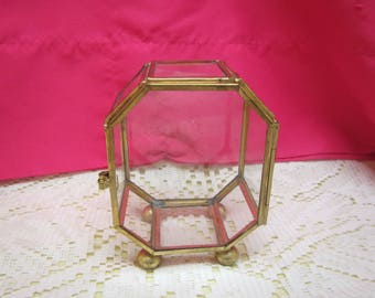 """vintage Octagonal GLASS and Brass JEWELRY Display Case with feet *** 4 """" tall x 3 """" across x 2 """" deep"""
