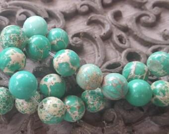 8mm Sea Sediment Green Jasper Round Beads, full strand, 50 pcs