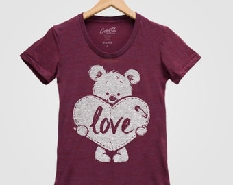 TEDDY BEAR Valentine Shirt Women Hand Screen Print Tri-Blend Short Sleeve Tshirt
