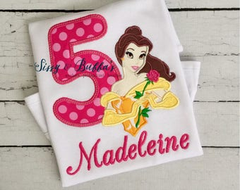 Personalized Belle Birthday Shirt, Disney, birthday, princess, Belle applique shirt, disney trip shirt, beauty and the beast shirt