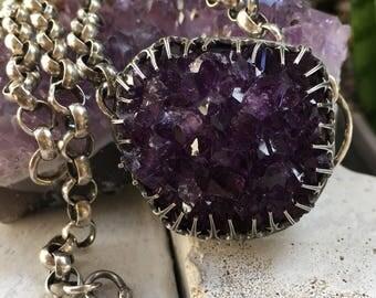 Purple Rosette Necklace
