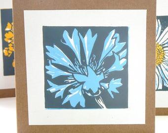 Cornflower hand printed linocut card