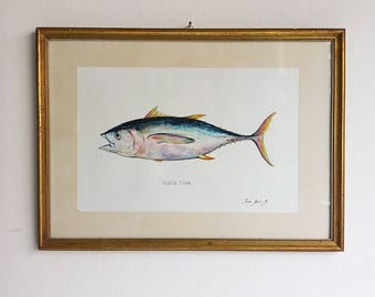 PRINT- Bigeye tuna fish- Tuna painting art print - Tuna fish art nursery ocean sport fishing decor - Art Print by Juan Bosco