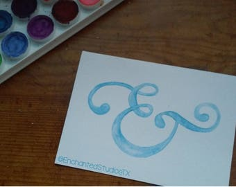 """Watercolor Ampersand Card - 4""""x5.5"""""""