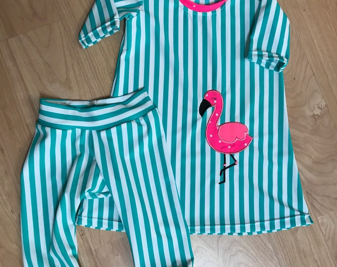 Ready to ship Size 2 Swim Dress and Leggings / Flamingo Appliqué /Flamingo Swim Dress/ Turqouise Stripe/ Coral Flamingo