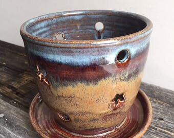 Orchid Planter ceramic pottery handmade wheel thrown hand cut holes with attached drip dish