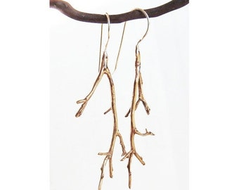 Bronze Twig Earrings with Sterling Silver Wires~Branch Tree limb~Forest Woods~Mothers Day