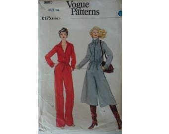 "Vintage 70's Vogue 9885 Loose-fitting Drawstring Waist Jumpsuit 2 Options Culotte or Straight-legged Pant Bust 36"" UK 14"