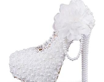 White Wedding Bling Bride Pearl Custom Shoes