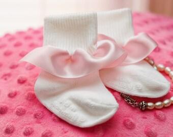 Pretty in Pink baby girl ruffled socks