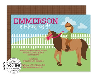 Horse Invitations, Horse Birthday Party, Cowgirl Invitation, Pony Invitation, Horse Birthday, Horse Party,Horse Theme,Cowgirl Birthday | 204