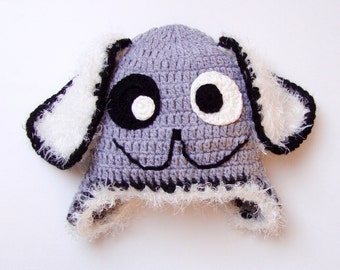 Crochet Baby Dog Hat, Baby Animal Gray White Dog Hat, Baby Shower Gift, Baby Gift, Newborn Prop, Photo Prop, Newborn Hat,Gray White Baby Hat