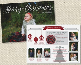 """Custom Photo Christmas Holiday Photo Card Year in Review - """"Traditional Christmas"""""""