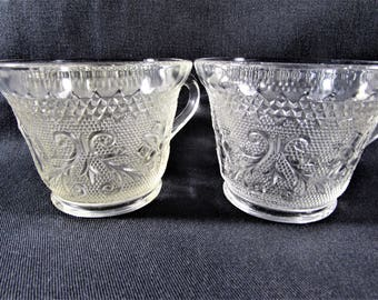 Indiana Glass Sandwich Pattern Coffee Cups Set of 2