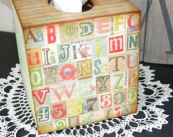 Decorative Tissue Box, Kleenex Box Cover, Tissue Box Cover, Decoupaged Tissue Box, Square Tissue Box