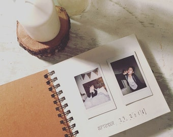 Hand-Stamped Custom Photo Wedding Guestbook