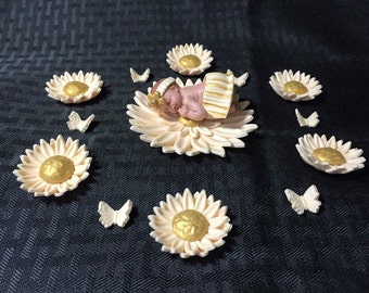 Gold Detail Tutu Baby Daisy Butterfly Flower Shower Cake Cupcake Decorations Topper Fondant Babyshower Girl Favor Keepsake Gerber Daisies
