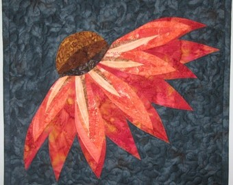 Art Quilt Coneflower, Wall Hanging