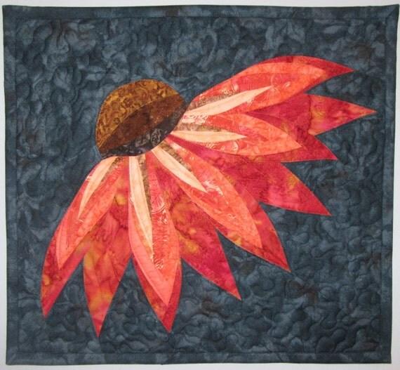 Art Quilt Coneflower, Wall Hanging