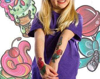 "Kristel Oreto ""sweet tooth"" temporary tattoo 3 pack & unicorn sticker"