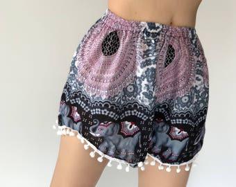 PP0079 Pom pom Shorts Beach Summer pants Freshy pants Fashion short Chic Clothing Aztec Ethnic Bohemian Ikat Boxers Short Pants Unique