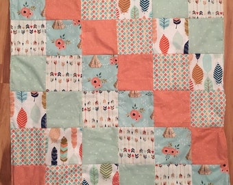 """SALE ** READY to SHIP 34"""" x 35"""" Mint Minky dot baby quilt blanket ~ Tee Pee Arrow Feather Coral"""