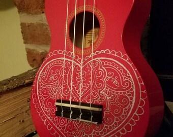 Red Hand Painted Ukulele, Heart Mandala Ukulele, Decorated Soprano Ukulele, ukulele instrument, adult ukulele, ukelele, ukalele