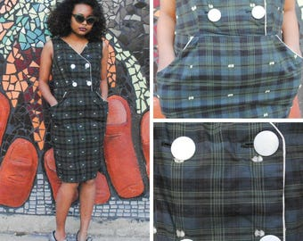 Green Plaid Pencil Dress