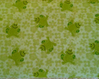 CLEARANCE Frogs Flannel Fabric Green Juvenile Nursery Cotton 1 Yard Children
