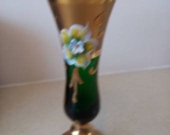 6'' tall green  milano glass, 18k gold, hand painted, bud vase, floral design