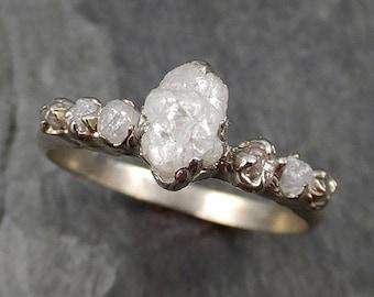 Diamond White gold Engagement Ring Rough Gold Wedding Ring diamond Wedding Ring Rough byAngeline Diamond Ring 0469