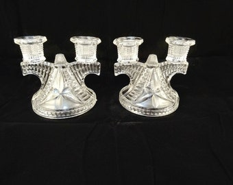 Vintage Glass Art Deco Candle Holders Pair Vintage Clear Glass Double Arm Candle Holders EAPG Zipper Glass Federal Glass Company
