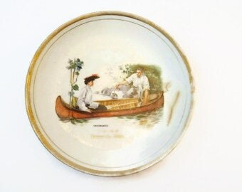 Vintage Dresden China Plate Canoemates Potterville Michigan