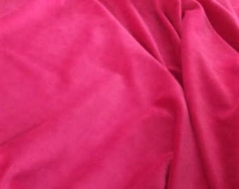 "Fuchsia Pink Velvet Fabric, Width 57"", Material Sold By the Yard, Pink Fabric"
